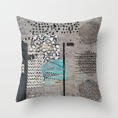Grey Teal Abstract Art  Throw Pillow