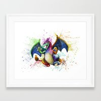 charizard Framed Art Prints featuring Charizard by Kelsey Yurkow
