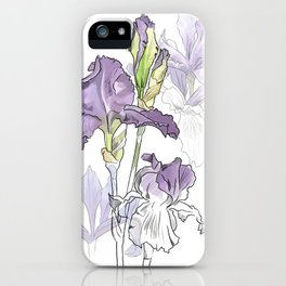 Iris - Flower botanical illustration iPhone Case