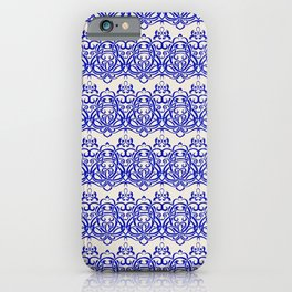 Blue Lilies - Retro Floral Pattern iPhone Case