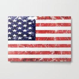 American Grunge Flag Metal Print