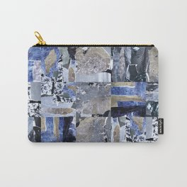 Abstract Geometric Minimal Mosaic of Lavender and Silver Palladium Leaves. Carry-All Pouch