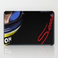 senna iPad Cases featuring Senna Helmet Portrait by Borja Sanz