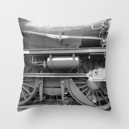 Old steam locomotive in the depot ZUG004CBx Le France black and white fine art photography by Ksavera Throw Pillow