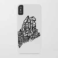 maine iPhone & iPod Cases featuring Typographic Maine by CAPow!