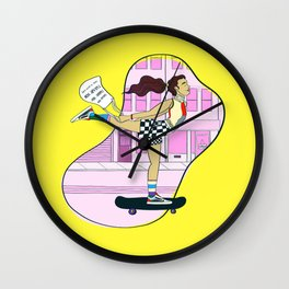 Girls Going Places: Skater Girl Wall Clock