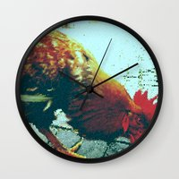 cock Wall Clocks featuring cock by habish