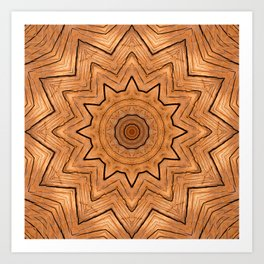 Wooden Wheel of the year of the ring kaleidoscope Art Print