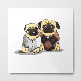 Sweater Pugs Metal Print