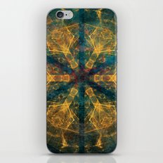 Tribal mandala in blue and gold iPhone & iPod Skin