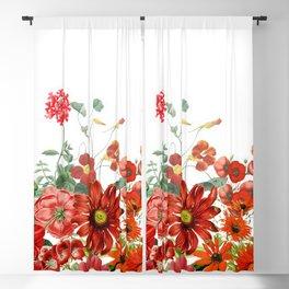Vintage & Shabby Chic - Red Summer Flower Garden Blackout Curtain
