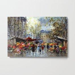 Flower Market, Madeleine, Paris, France by Antoine Blanchard Metal Print