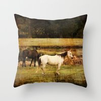 horses Throw Pillows featuring Horses by Christy Leigh