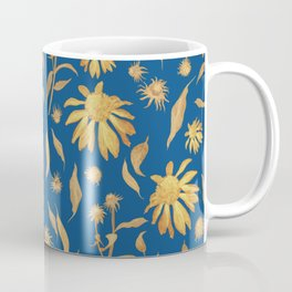 Elegant Gold Mustard Yellow Echinacea Cone Flowers on Classic Blue Coffee Mug