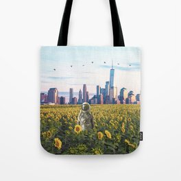 Astronaut in the Field-New York City Skyline Tote Bag