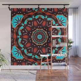 Abstract - Wood & Turquoise Pattern Wall Mural