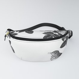 Birds and the Bees Black and White Fanny Pack