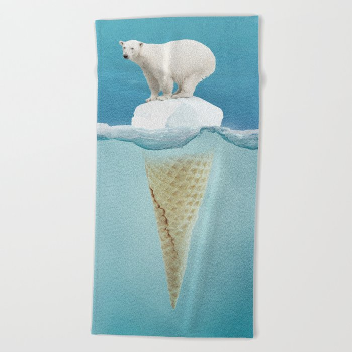Polar ice cream cap Beach Towel