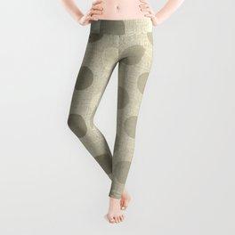 """Nude Burlap Texture and Polka Dots"" Leggings"