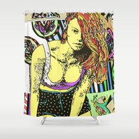 redhead Shower Curtains featuring Redhead girl by Richart