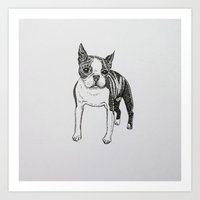 boston terrier Art Prints featuring Boston Terrier by Laura Caldwell