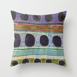 Dominating Black Round Shapes In Horizontal Stripes   Throw Pillow