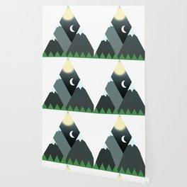 Graphic Minimalist Mountain Scene Wallpaper