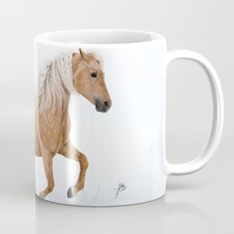 Beautiful American Quarter Horse playing in snow Coffee Mug