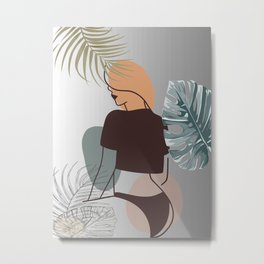 Set of tropical beauty. Women in elegant line art style. Monstera and palm leaves background. No 3/3 Metal Print