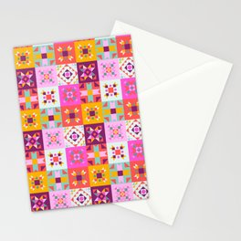 Maroccan tiles pattern with pink no4 Stationery Cards