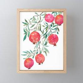 red pomegranate watercolor Framed Mini Art Print