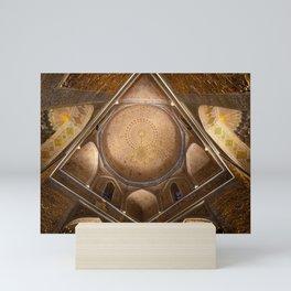 golden decorated interior of gur emir mausoleum in Samarkand - Architecture Photography Mini Art Print
