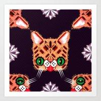 lil bub Art Prints featuring Lil Bub Geometric Pattern by chobopop