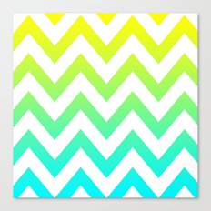 YELLOW & TEAL CHEVRON FADE Canvas Print