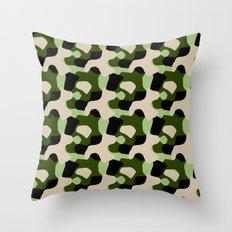 Green Camo Pattern Throw Pillow
