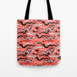 Beautiful graphic illustration of the sea snake, Moray Tote Bag