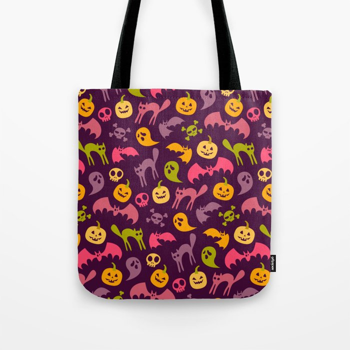 Neon Halloween Pattern - Purple Background Tote Bag