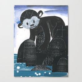 Monkey Exploring a Tide Pool Canvas Print