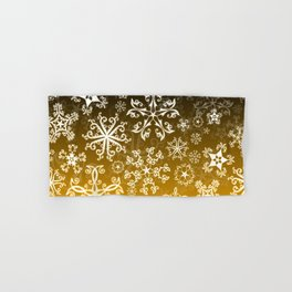 Symbols in Snowflakes on Gold Hand & Bath Towel