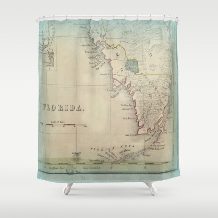Antique Florida Keys Map Shower Curtain