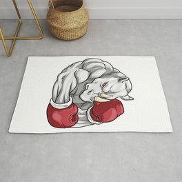 Rhino as boxers with boxing gloves Rug