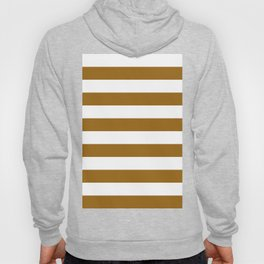 Horizontal Stripes - White and Golden Brown Hoody