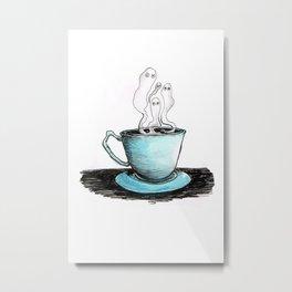 Spooky Teacup Metal Print