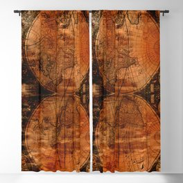 Rustic Old World Map Blackout Curtain