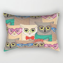 Pattern with cute owls with trendy accessories - glasses, bow-tie, flowers, scarf Rectangular Pillow