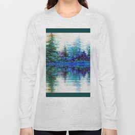 BLUE MOUNTAIN TREES & LAKE REFLECTION Long Sleeve T-shirt