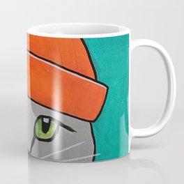 Striped-T-shirt Cat Portrait Original Acrylic on Canvas Painting Coffee Mug