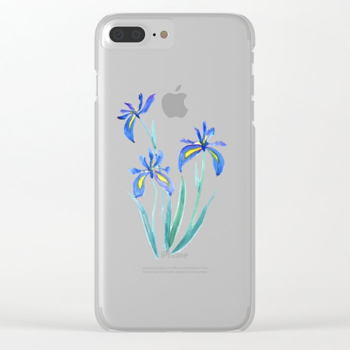 blue iris watercolor Clear iPhone Case