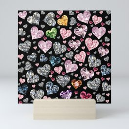 Heart Diamonds are Forever Love Black Mini Art Print