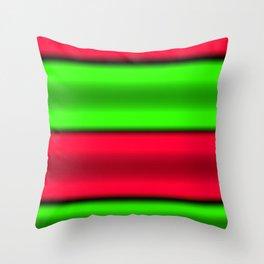 Green & Red Horizontal Stripes Throw Pillow